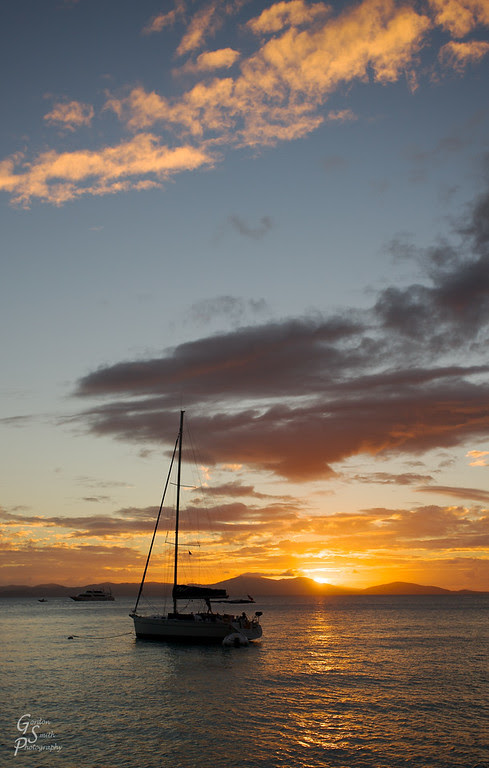 sunset british virgin island from sailboat