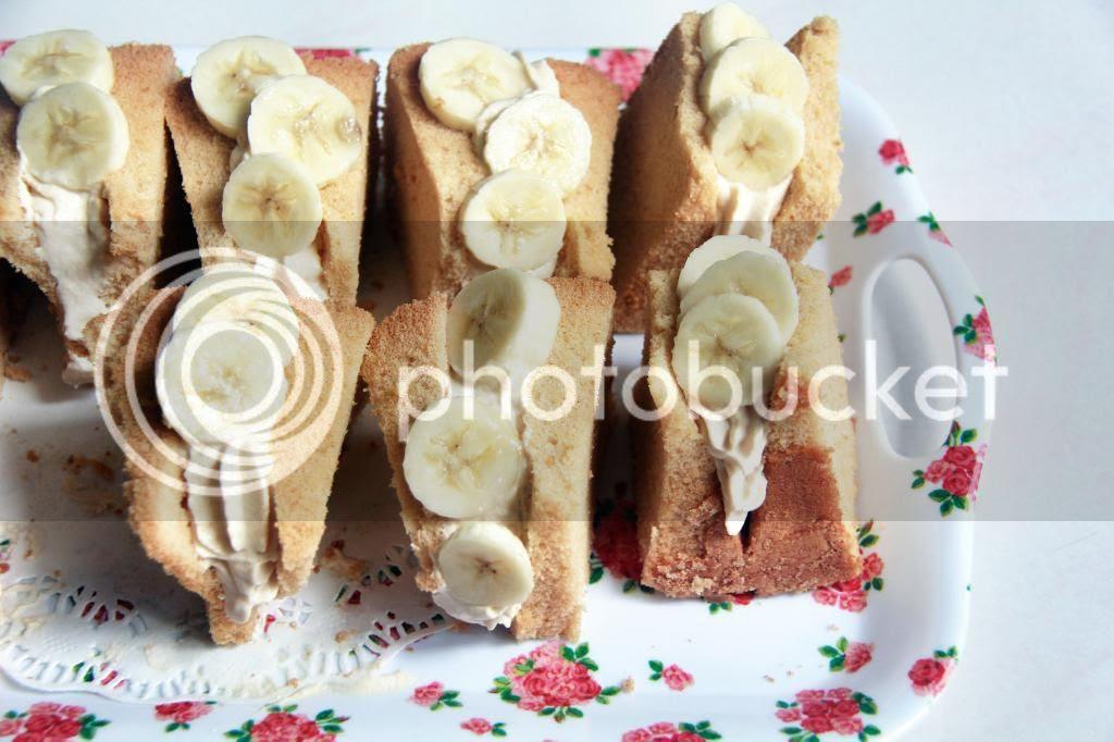 dessert - kinako banana chiffon cake sandwiches