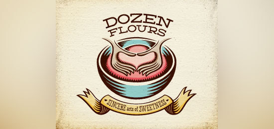 ribbon logos dozen flours1 30 Creative Ribbon Logo Designs