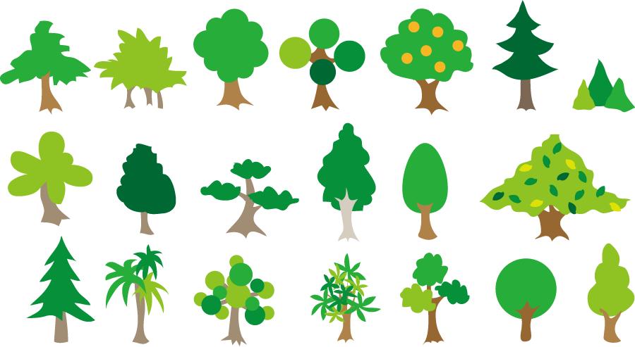 フリーイラスト 色々な緑の木のセットでアハ体験 Gahag 著作権