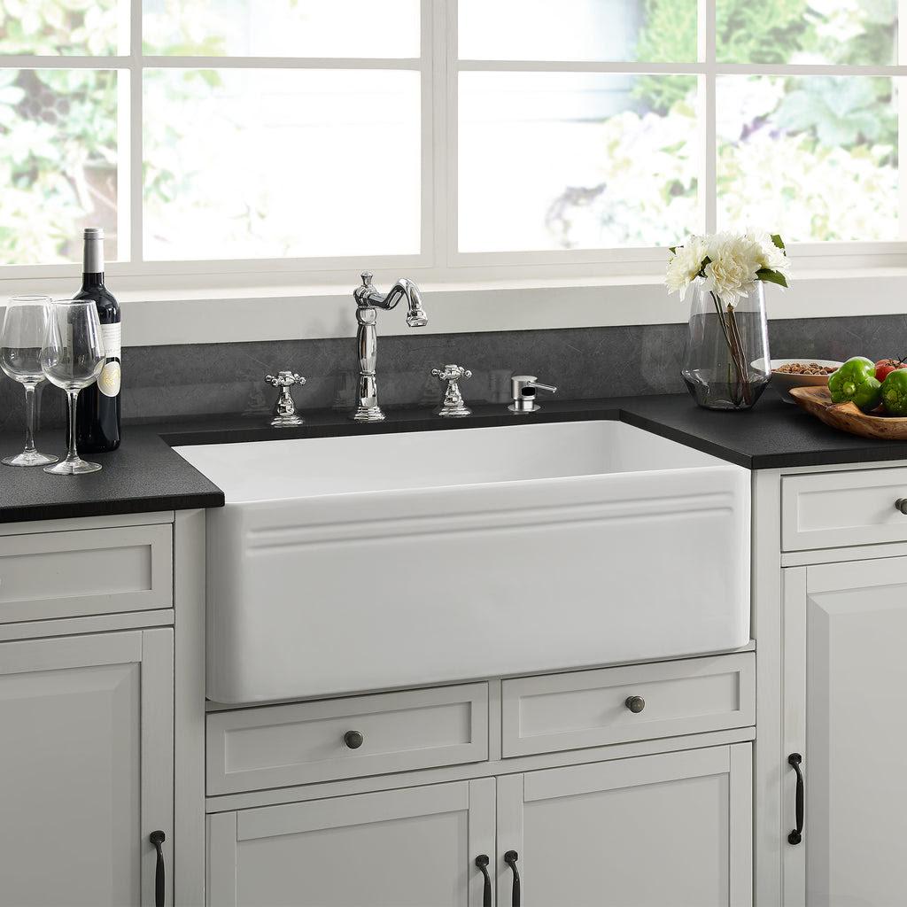 "Delice 30"" x 18"" Ceramic Farmhouse Kitchen Sink - Swiss ..."