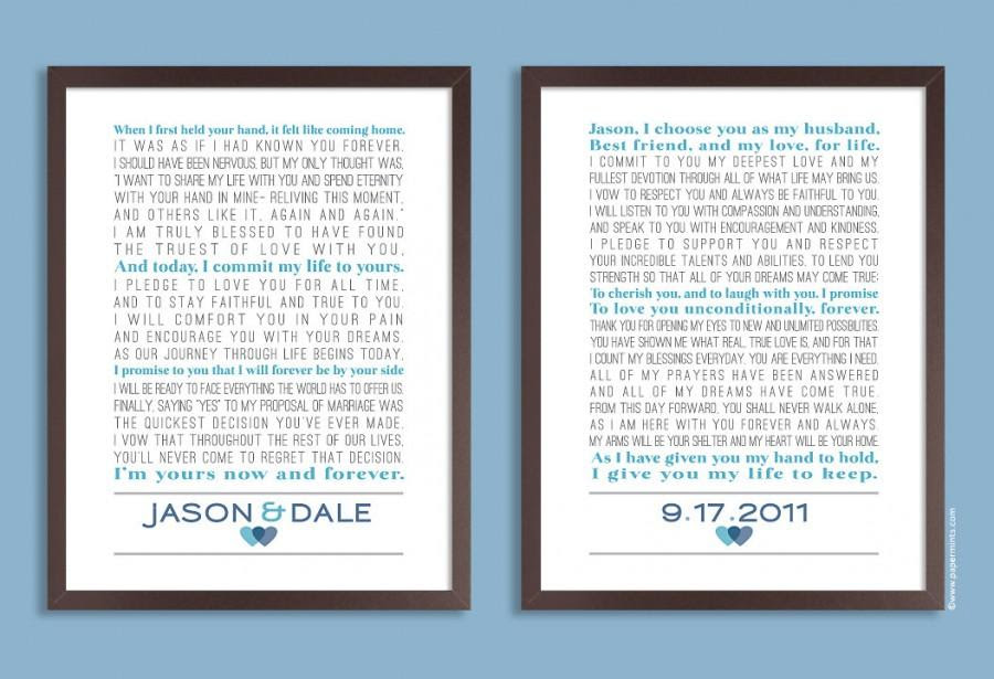 Custom Wedding Vows Personalized Print Set Of Two Prints Song