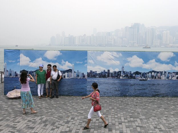 http://www.npr.org/blogs/thetwo-way/2013/08/29/216802749/have-your-picture-taken-with-hong-kongs-smog-free-skyline