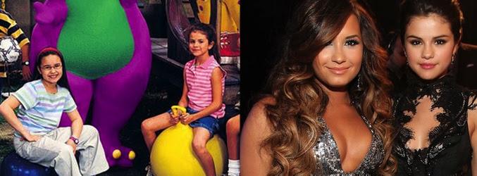 Demi Lovato y Selena Gómez en 'Barney & Friends (izq) y en la actualidad (dcha)
