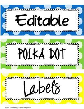 Labels Editable Bright Polka Dots (clip art... by The Enlightened ...