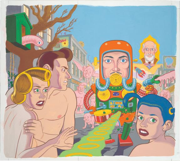 "Daniel Clowes's cover for ""Eightball 18"" (1997), gouache on white board (Collection of Daniel Clowes Image courtesy of the artist and Oakland Museum of California)"