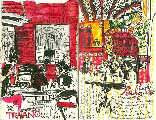 Interiores de cafés de Sevilla: Trajano y Picalagartos