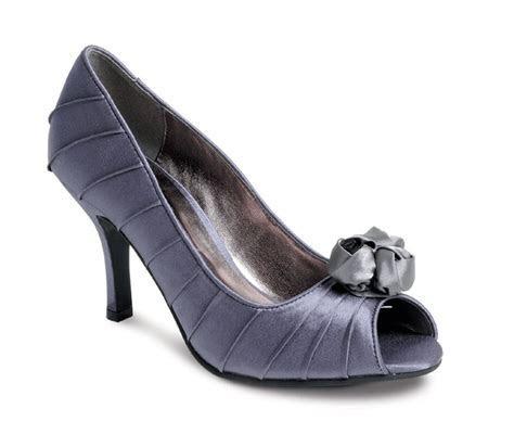 Lunar FLV216 Dark Grey Satin Occasion or Wedding Shoes
