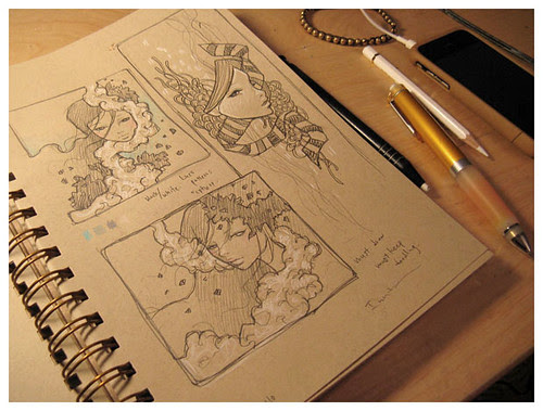 audrey kawasaki, doodles, sketches, art, illustration, beautiful via livejournal