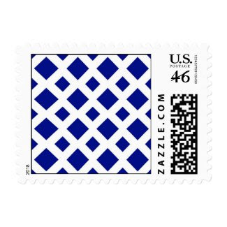 Navy Diamonds on White Postage