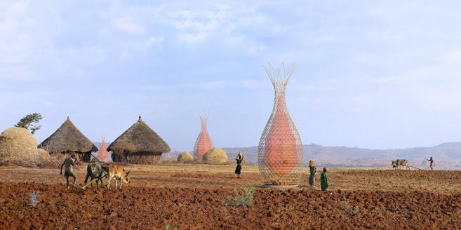 Recreación digital de la torre de bambú para Etiopía que crea agua...