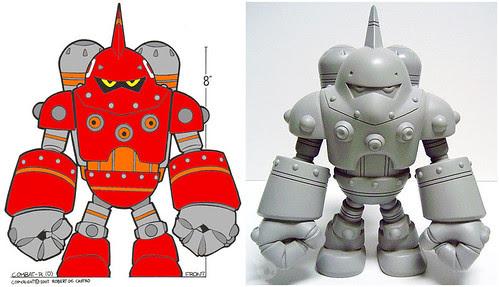 Combat R Zero Designer Vinyl Robot Figure Atomic Mushroom Kidrobot Pop Sofubi