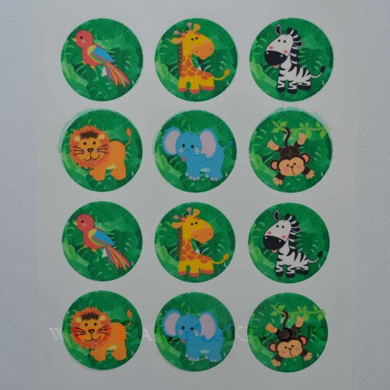 Edible Cupcake Toppers x 12 - Jungle Animals Design