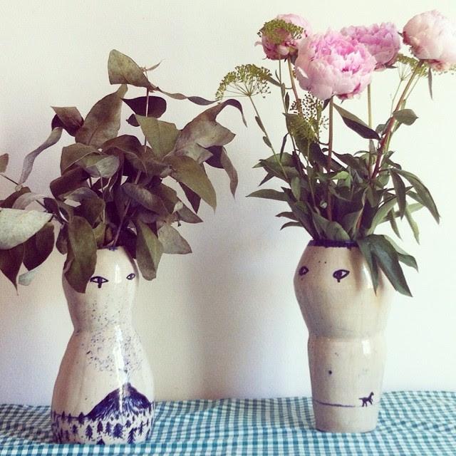 El jarron y la jarrona que hice en clase de ceramica de @lusesita