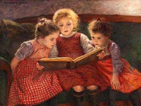 walter firle  the fairy tale three girls reading