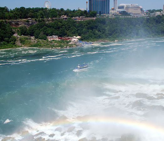 Maid of the Mist passing by the American Falls