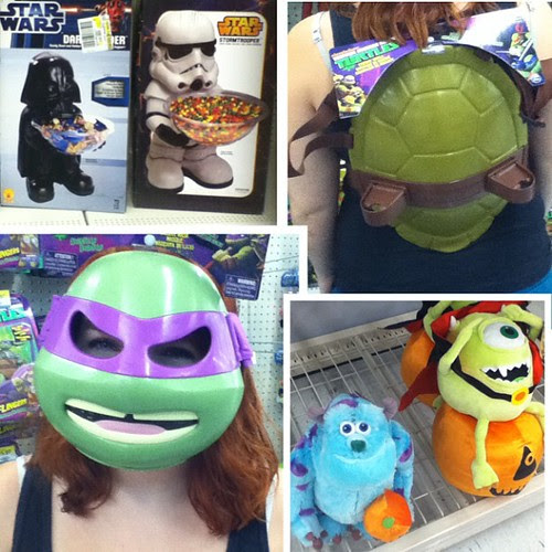 Fun at Walmart... I seriously want a turtle shell and all the Halloween decorations!! #TMNT #Halloween #starwars