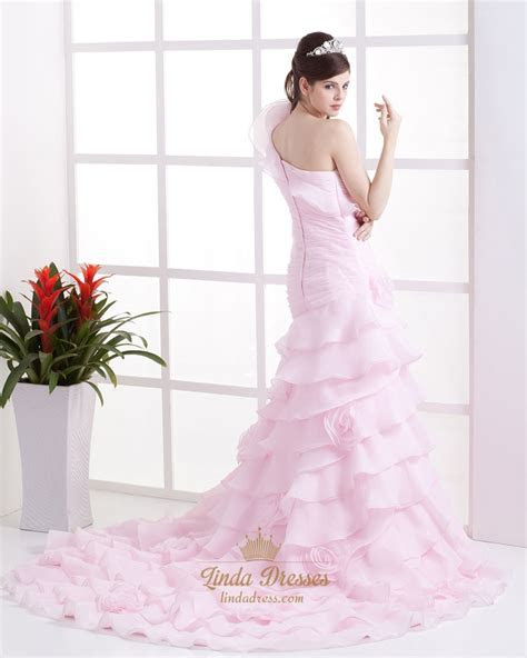 Pink One Shoulder Layered Mermaid Wedding Dress With