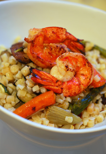fregola with roasted vegetables and prawns