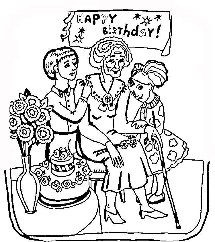 Happy Birthday Grandma Coloring Pages - Coloring Home