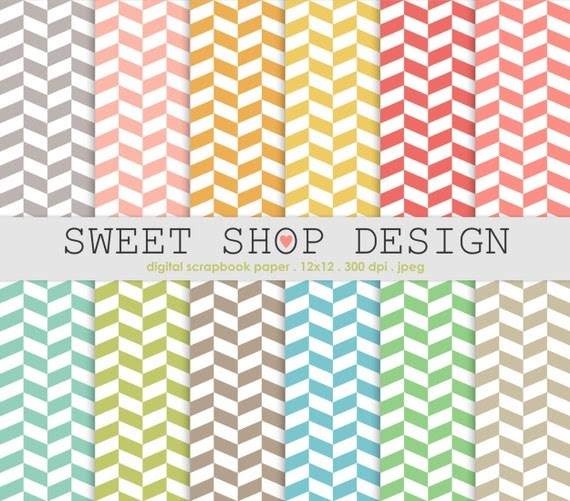 sweet shop design  printable scrapbook paper pack  12x12