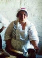 Carolyn cooking in the officer's quarters, Ft. de Chartres Colonial Trade Faire, Pays Illinois, 2001