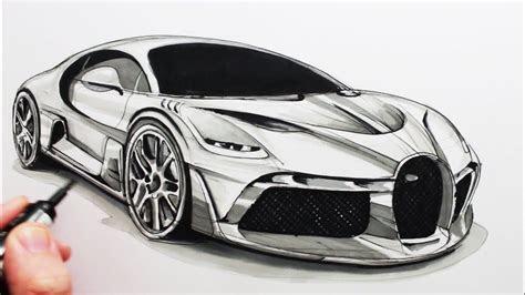 draw  sports car  bugatti divo art examles