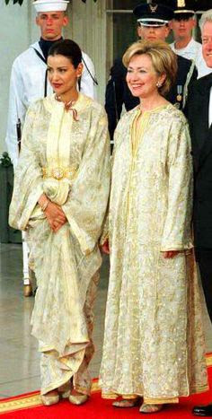 Hillary Clinton and Princess Lalla Meryem wearing Moroccan caftan