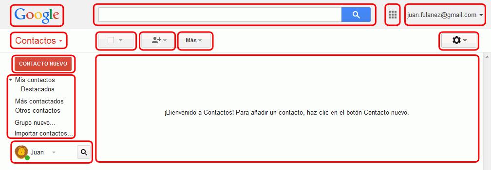 Gmail. Interfaz de la pantalla de contactos