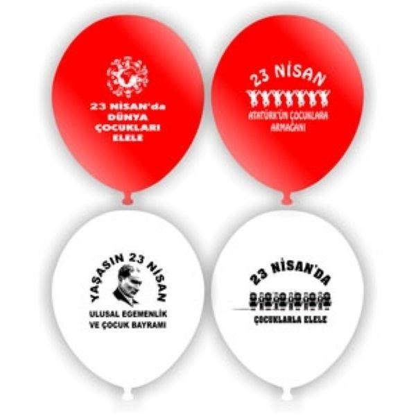 23 Nisan Baskili Balon 100 Adet Bayrakli Balon Balon