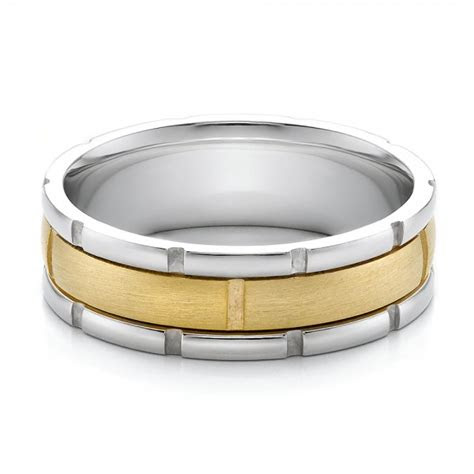 mens  tone gold brushed wedding band  seattle