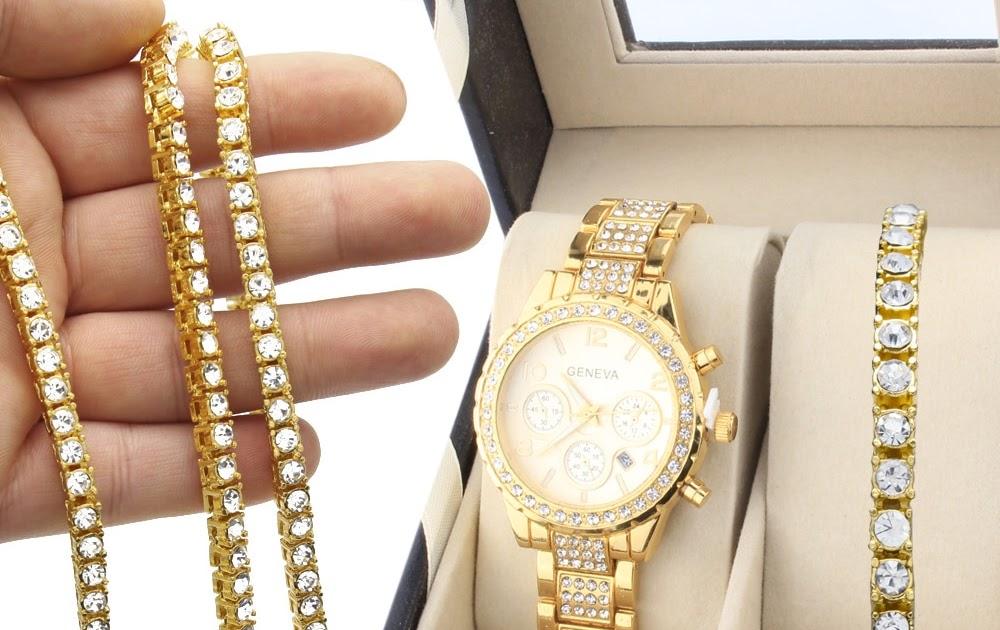 5a84a76b6423 Comprar Collar De Fiesta pulsera Hombre Oferta Especial Conjunto Joyería  Hip Hop Color Dorado Reloj 1 Fila Diamantes Imitación Cadena Pulsera  Combinación ...