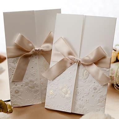 Wedding Invitation Vintage Embossed Tri fold With Ribbon