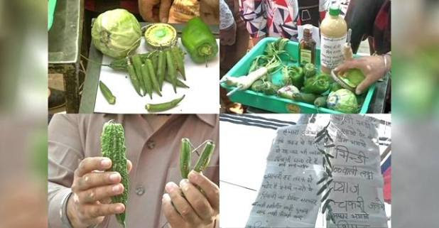 Sadar Bazaar Vendors Find A Different Way of Selling Green Crackers Using Vegetables