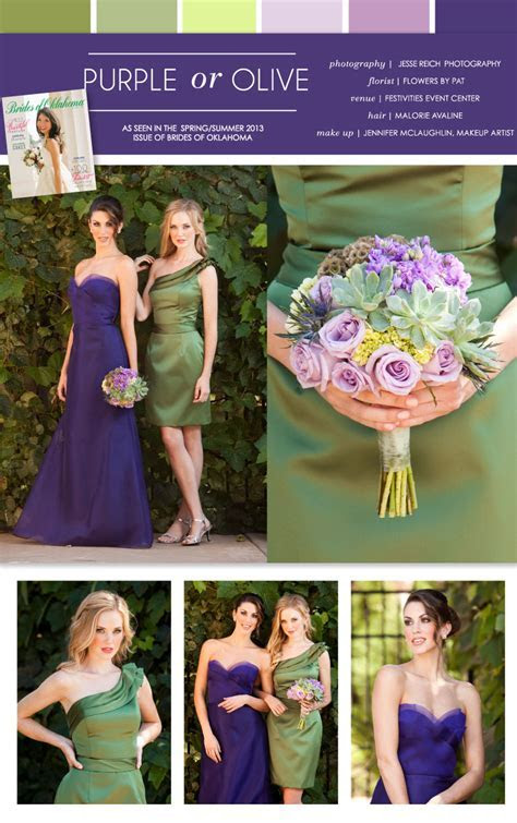 Pretty Pairings   Purple or Olive Bridesmaid Dresses