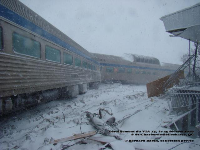 VIA Skyline car after derailment. Photo by Bernard Babin