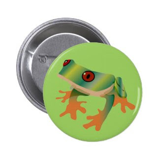 Tree Frog Art on Button