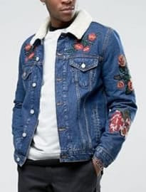 Asos Denim Jacket With Embroidery & Borg Collar In Blue Wash