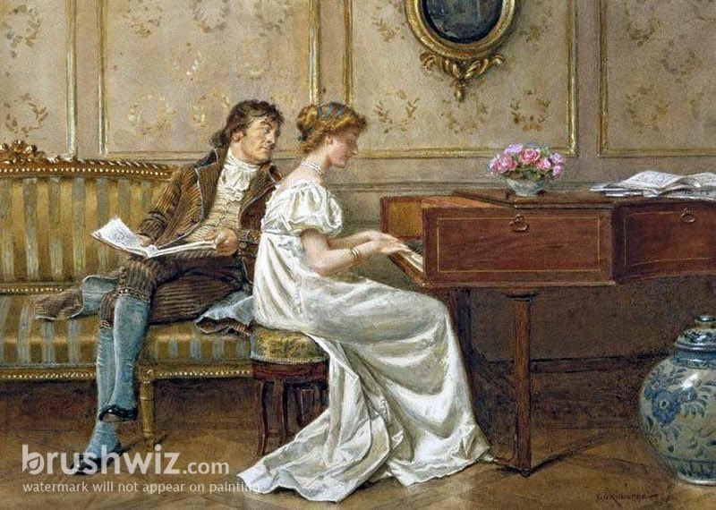 Image result for lady in spinet