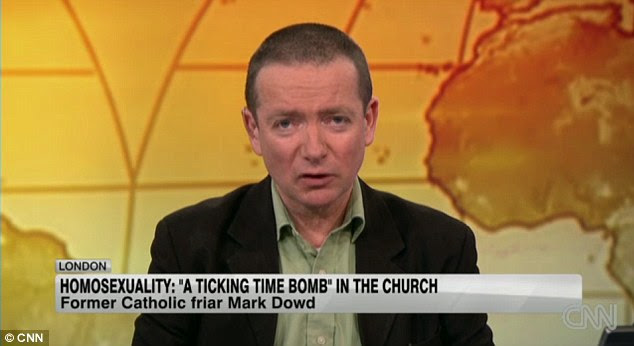 Former friar: Mark Dowd, who is now a journalist, said research for his 2001 Channel 4 documentary Queer and Catholic had suggested at least half of people attracted into seminaries in the priesthood are gay