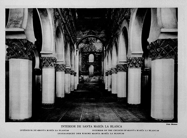 Sinagoga de Santa María la Blanca a comienzos del siglo XX. Foto Moreno
