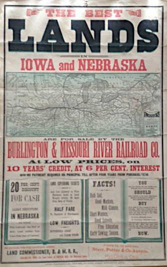 Lands for sale in Iowa and Nebraska for the Burlington & Missouri River Railroad Co.