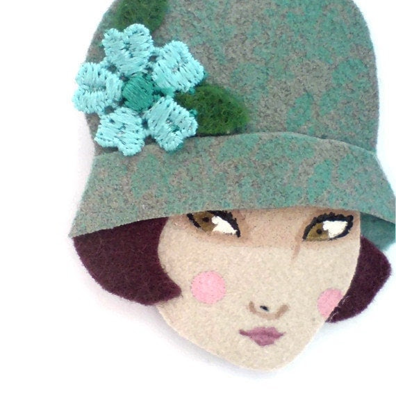Fabric brooch - Emma,  Art deco flapper girl, Autumn, sage, light blue, chocolate brown