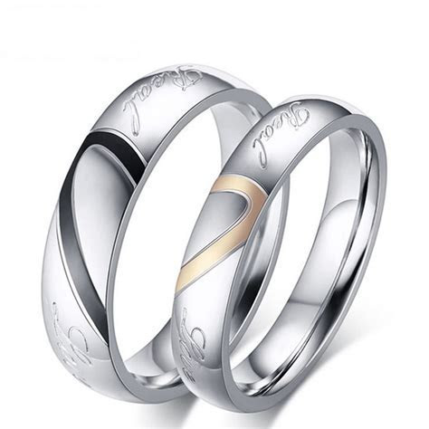 Fashion Love Heart Couple Ring for Women Men With Rings