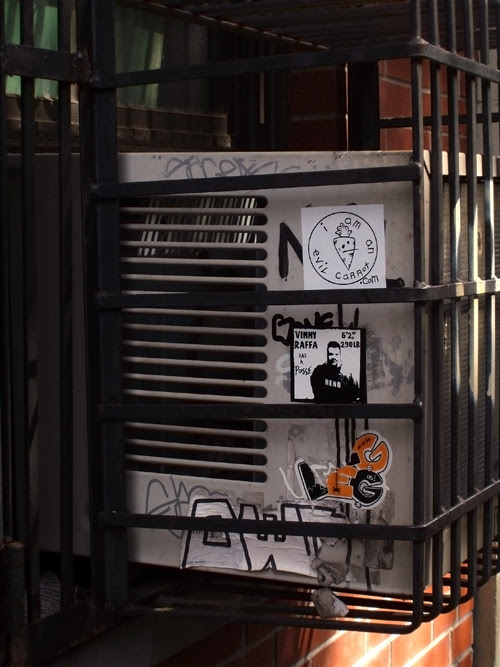 air conditioner with decals and graffiti