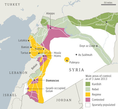 Main areas of control in Syria as of 3 June 2013