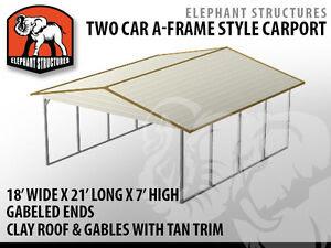 Two Car Metal Carport - 18' x 21' x 7' for $1,495 | eBay