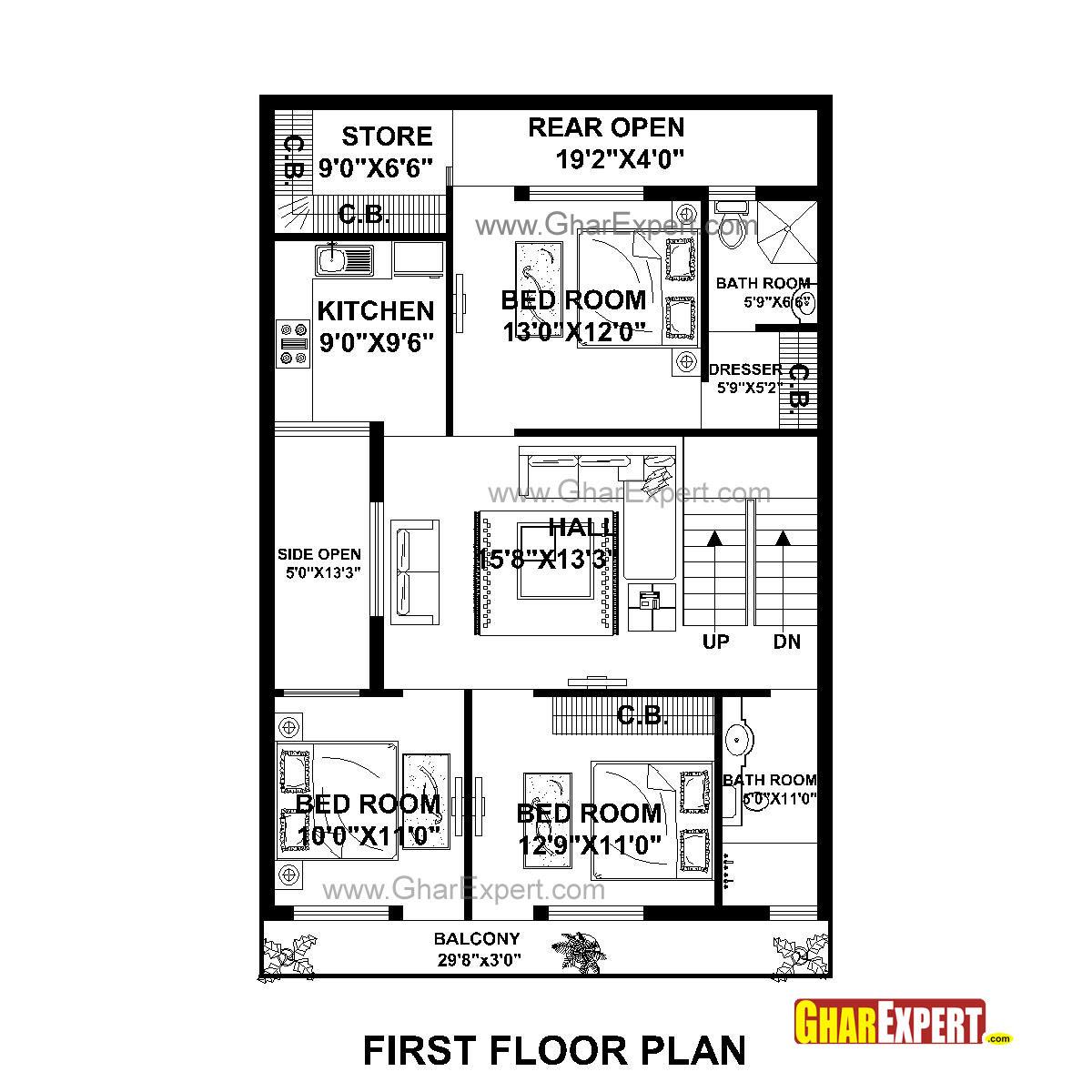 House Plan For 30 Feet By 50 Feet Plot Plot Size 167 Square Yards Gharexpert Com