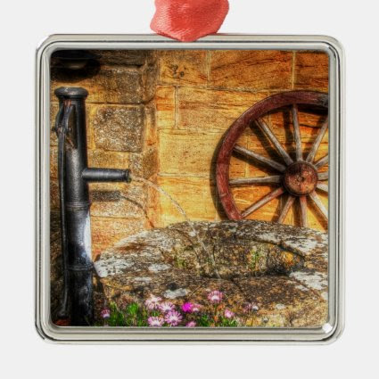 Rustic Pump, Well and Cartwheel scene Christmas Ornaments