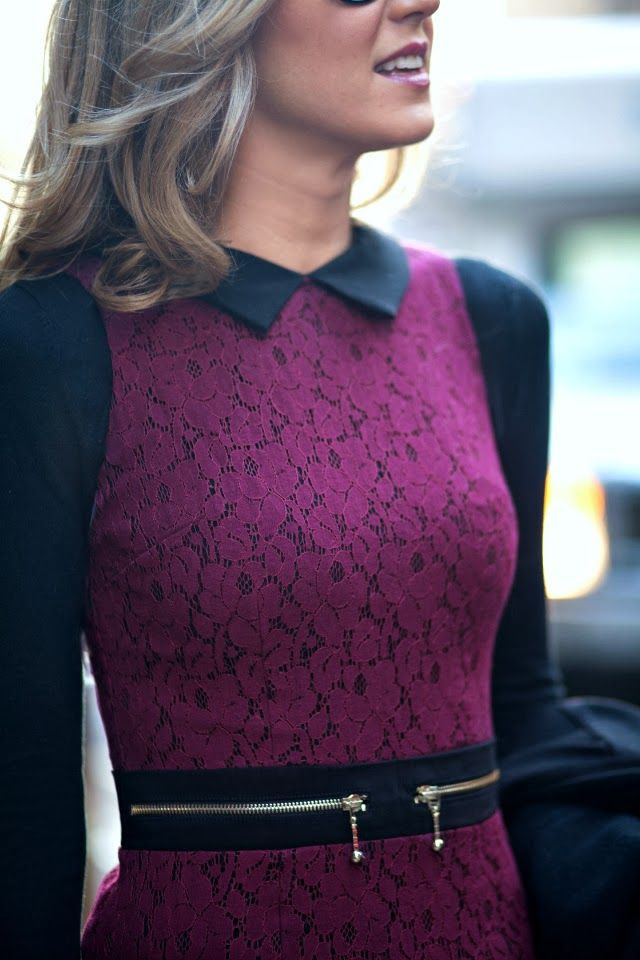 Attractive lace dress in purple and black with side waist zippers